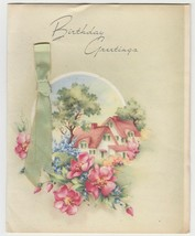 Vintage Birthday Card Cottage With Pink Roof Janes Art Studios 1940's - $7.91