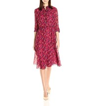 Anne Klein Womens Feather-Print Roll-Tab Sleeves Shirt Dress 4 Red Purpl... - $27.09