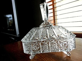 Vintage Cut and Pressed Clear Glass Candy/Nut Rectangular container with... - $34.60