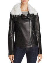 New Hot Stylish Fur Collar Women's  Genuine Soft Lamb Skin Leather biker... - $169.00