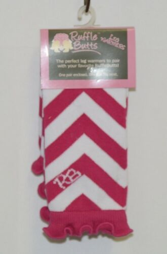 Ruffle Butts Infant Toddler Leg Warmers Fuchsia White Chevron Stripe One Size