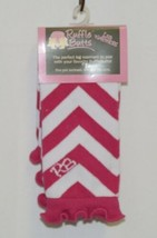 Ruffle Butts Infant Toddler Leg Warmers Fuchsia White Chevron Stripe One Size image 1