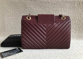 AUTHENTIC NEW Chanel Burgundy Quilted LAMBSKIN FLAP BAG GOLDTONE HW image 3