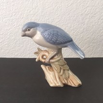 Vintage Porcelain Glossy Mountain Blue Bird Resting on Tree Figurine Statue - $19.95