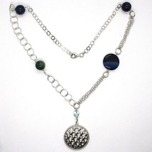 Necklace Silver 925, Agate Blue Banded, With Locket Pendant, 55 CM image 2