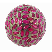 24.10 Ct Ruby Gemstone Bead 925 Sterling Silver Spacer Disco Ball Findin... - $430.10