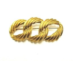 VINTAGE NAPIER SIGNED GOLD TONED 3 INTERLOCKING RINGS BROOCH PIN RETRO T... - $9.49