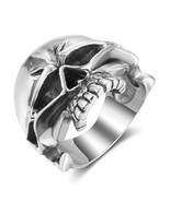 Halloween Terror Skull Ring Real 925 Sterling Silver Men Finger - $169.99
