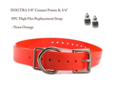 "DOGTRA 5/8"" Contact Points & 3/4"" SPC High Flex Replacement Strap - Neon Orange"