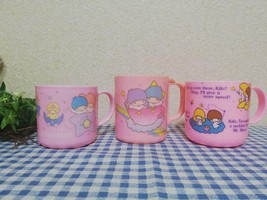 Vintage Retro Sanrio Little Twin Stars Plastic Mug Set Of 3 1976 1983 Ra... - $236.14