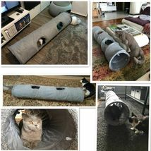 Collapsible Cat Tunnel Crinkle Kitten Play Tube For Large Cats Dogs Bunnies Toy  image 6