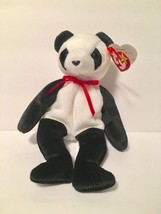 Ty Beanie Babies Plush Beanbag Fortune the Panda Bear Black White - $7.78