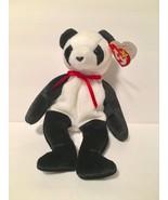 Ty Beanie Babies Plush Beanbag Fortune the Panda Bear Black White - $7.78