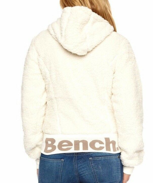 Bench UK Kava Cream Off-White Hoodie BLEA2461D Zip-Thru Faux Fur Jacket