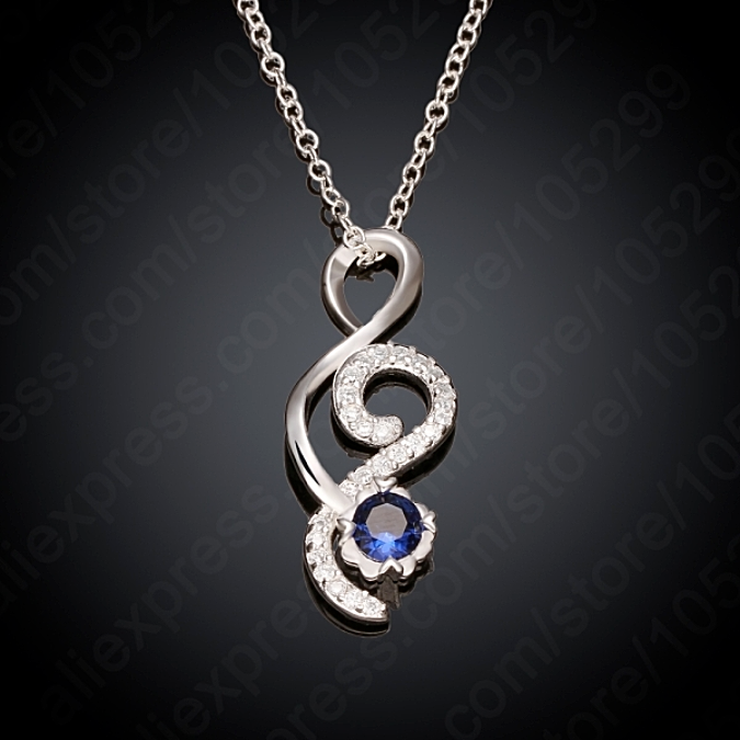 Primary image for Double Scroll Jeweled Pendant Necklace 925 Sterling Silver NEW