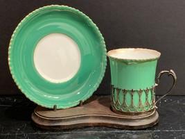 Royal Worcester Demitasse & Saucer Sterling Charles & Richard Comyns Mar... - $89.10