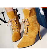 woman Xusunny Lace-up Martin booties, nubuck leather, size 4-10.5, yellow - $68.80