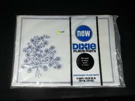 Vintage Dixie Paper Placemats Pack of 24 Disposable Blue Flowers - $14.80