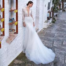 Sexy Deep Lace Long Sleeve Mermaid Wedding Lace Appliqued Backless Wedding Brida image 5