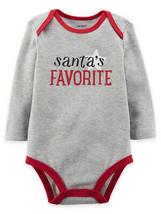 "Carter's Baby ""Santa's Favorite"" Long Sleeve Bodysuit, Gray, 3 Months - $7.50"