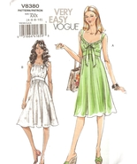 Gathered Waist Summer Dresses Sewing Pattern Misses Sizes 6-10 Vogue 838... - $5.99