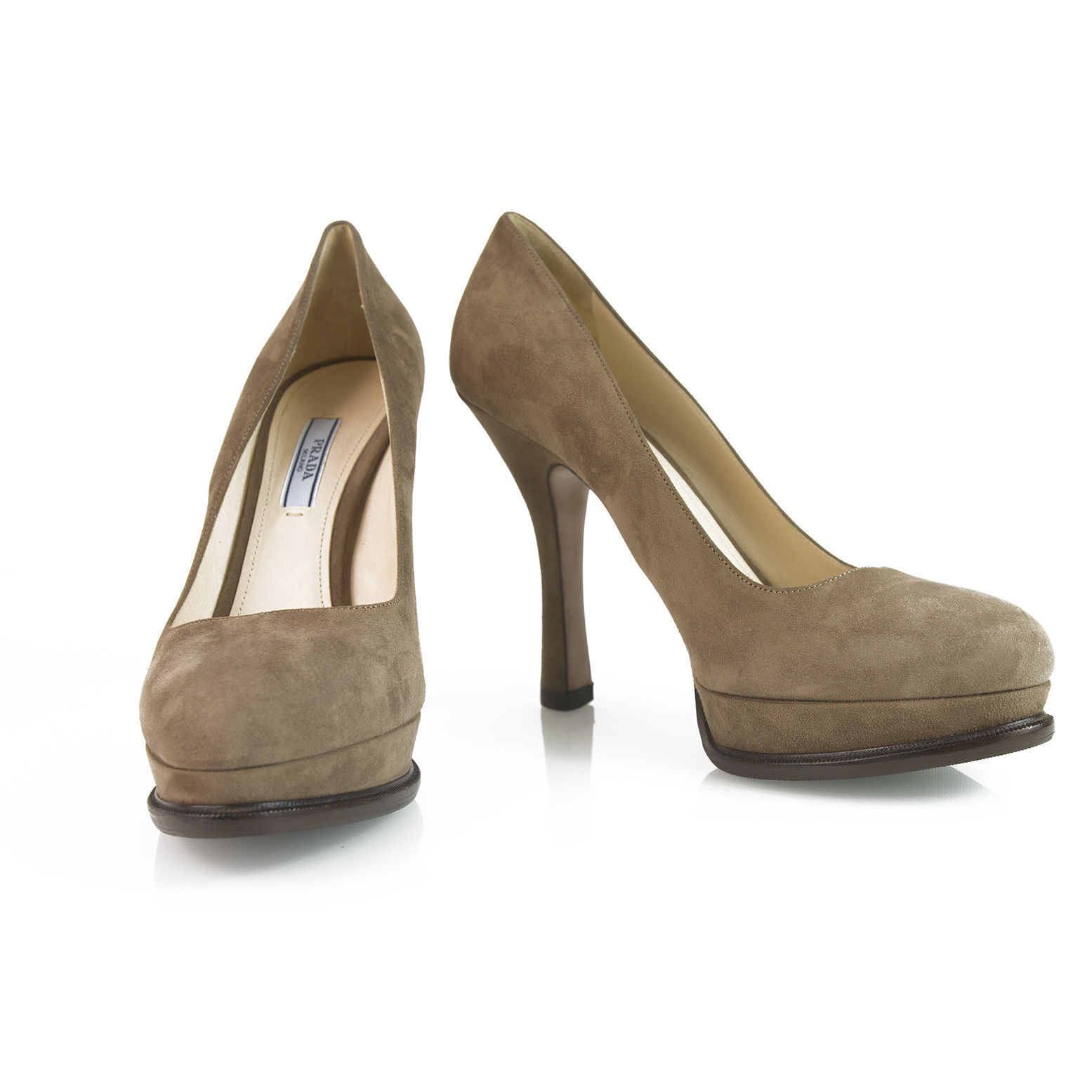 Prada Taupe Brown Suede Leather Classic Pumps Round Toe Slim Heel Platform sz 40 image 1