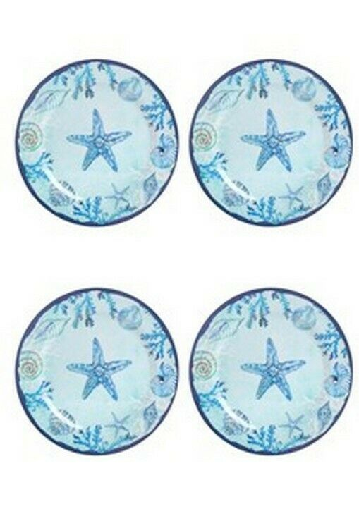 "Blue Starfish and Shells Melamine 10.5"" Dinner Plates Set of 4"
