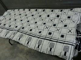 Antique 1800s Wool Buggy Blanket Blue White Frill Edges 68x58 (dd) (i40) - $140.25