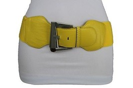 New Women Wide Classic Yellow Color Faux Leather Belt Big Silver Buckle ... - $12.73