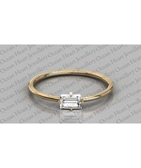 Certified 0.15Ct Baguette Natural Diamond 14K Gold Solitaire Diamond Ring  - $296.00