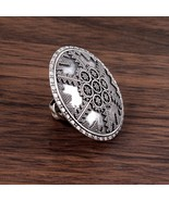 Authentic Shield Pattern Ring in Silver, Cocktail Silver Statement Ring - $65.00