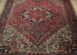Normal Wear Semi-Antique Persian Handmade 9x12 Burgundy Heriz Wool Rug image 12