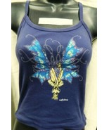 Blue Fairy Sitting Wings Expanded Hand Dyed Blue Spaghetti Strap Shirt U... - $16.99