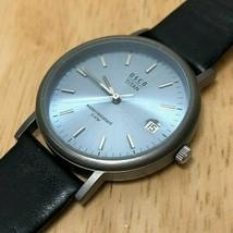 Vintage OSCO Titan Men 50m Titanium Leather Analog Quartz Watch Hour~New... - $37.99