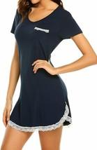Ekouaer Nightgown Womens Sexy Sleep Shirt Dress V Neck Short Sleeve Lace... - $52.86