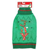 Holiday Time Christmas Dog Sweater NWT Size Large Green Bells and Sparkl... - $12.82