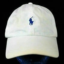 Polo Ralph Lauren White Baseball Cap Hat Leather Strap Blue Pony Box Ship - $24.99