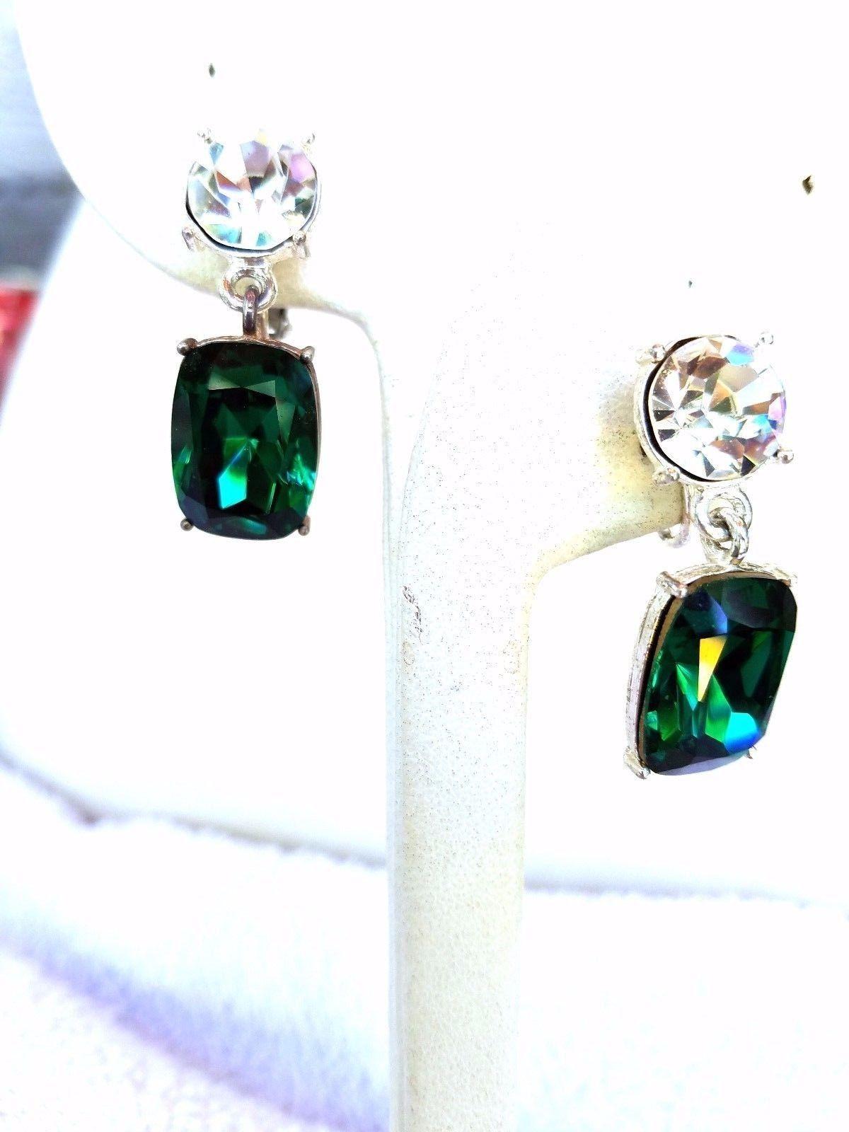 Napier Vintage Drop Earrings Green and Clear Rhinestones