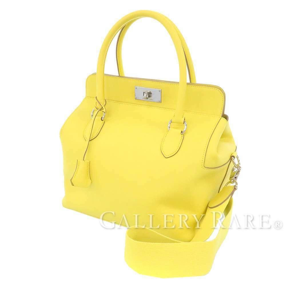 HERMES Toolbox 26 Veau Swift Soufre Handbag Shoulder Bag France #Q Authentic