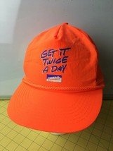 Rare Vintage Federal Express Bright Orange Get it Twice A Day Hat Cap Caps  - $48.95