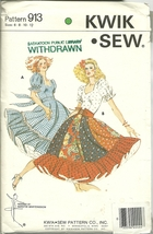 Kwik Sew Sewing Pattern 913 Misses Womens Square Dance Dress Sz 6 8 10 1... - $9.99