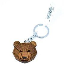 """Northwoods Layered Wood Marquetry Bear Head Bust 1.5"""" Keychain"""