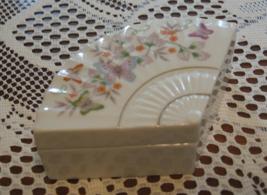 Avon-Porcelain Trinket Box w/Lid-Fan Shape-Butterflies & Flowers-1980 - $10.00
