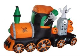 BZB Goods 7 Foot Long Halloween Inflatable Skeleton on Train LED Lights ... - $144.36