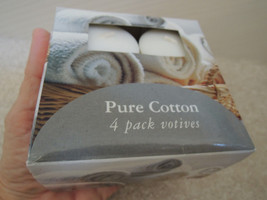 Votive Candles 4 Pack Pure Cotton White 2.15 Oz Each Unscented Candles NIB - $5.44