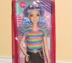 2021 Barbie Fashionista Doll #170 Blue Hair Rainbow Shirt Heart Belt Buc... - $18.99