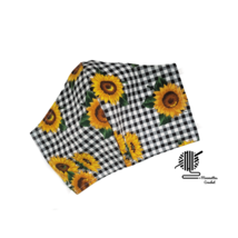 Sunflowers Face Mask Flowers Black White Check Cotton Facemask Handmade USA - $13.50