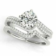 Certified 2.70Ct Round Diamond Halo Engagement Wedding Ring Set 14K Whit... - $294.99