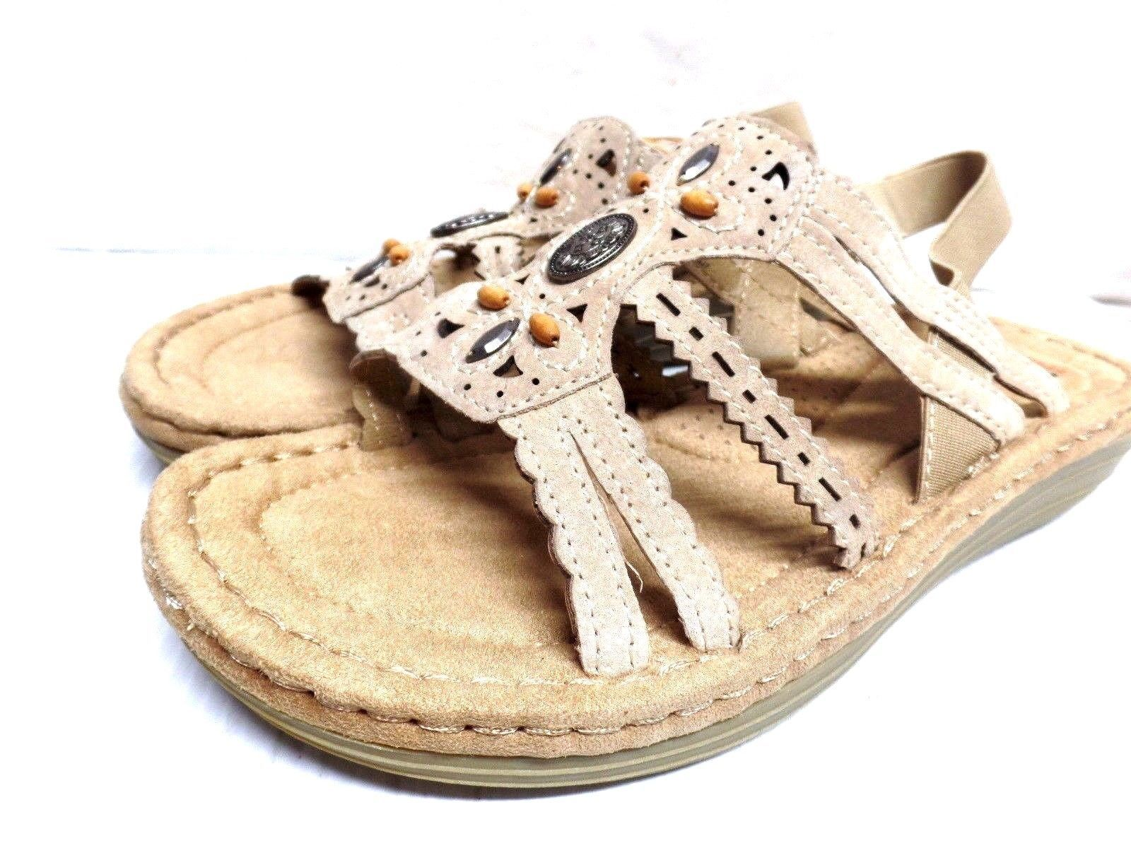 New Earth Spirit Womens Alli Sandal Beige - Sandals  Flip Flops-2507