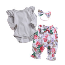 USA STOCK 3pcs Toddler Newborn Baby Girl Solid Romper Tops+Pants+Headban... - $13.10
